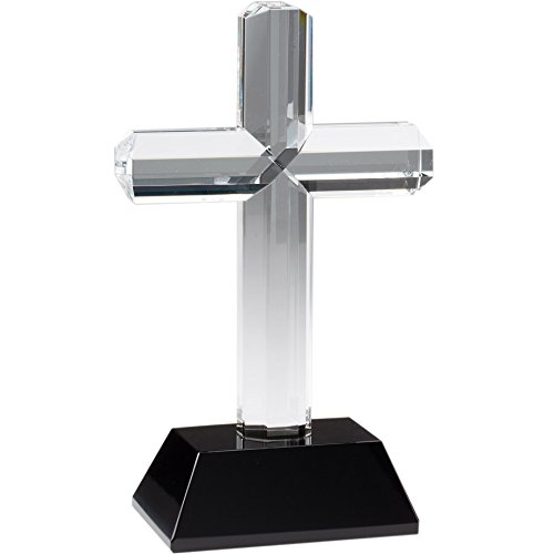 """9.75"""" Crystal Cross Religious Award On Black Crystal Base - Perfect Religious Competition Awards Trophy - Customize Now - Personalized Engraved Plate Included & Attached To Award - Decade Awards"""
