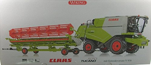 CLAAS TUCANO 570 COMBINE W/V 930 GRAIN MOWER - ASSEMBLED -- CLAAS (GREEN, WHITE, RED, GERMAN LETTERING) - 570 Grain