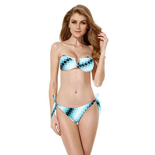 OFTEN Women Plaid Print V Wire Strapless Bandeau Bikini Swimsuits Swimwear