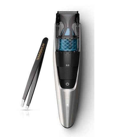 Philips Norelco Multigroom Vacuum Turbo-Powered Beard & Mustache Trimmer With Bonus Smoocu Tweezer by Philips Norelco