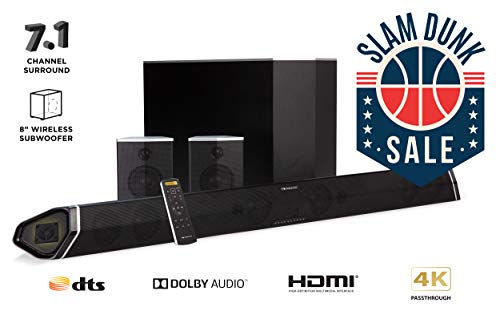"""Nakamichi Shockwafe Pro 7.1Ch 400W 45"""" Sound Bar with 8"""" Subwoofer (Wireless) & Rear Satellite Speakers"""