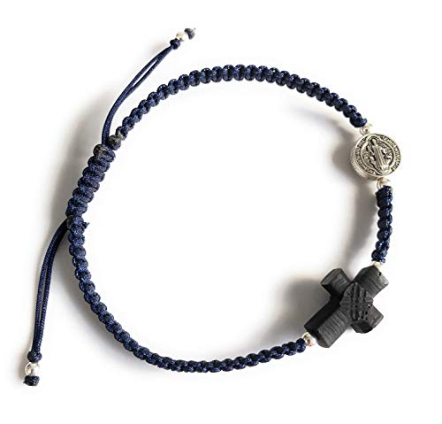 (Spiritual Empowered Real Azabache Cross Saint Benedict Protection Bracelet for Men)