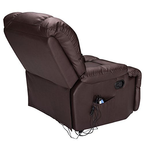 Giantex Recliner Massage Sofa Chair Deluxe Ergonomic Lounge Couch Heated W/Control (Brown)