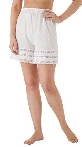 Slip Cotton Half (Velrose Cotton Knit Pettipants, White, 1X)