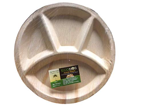 ECONUS Export Quality Plates (Pack of 25)  12 inch Plate with 4 deep Compartment Best Suited for daal  Disposable Round Plate with 4 partitions  Areca Palm Leaf Plate for Party and Function Price & Reviews