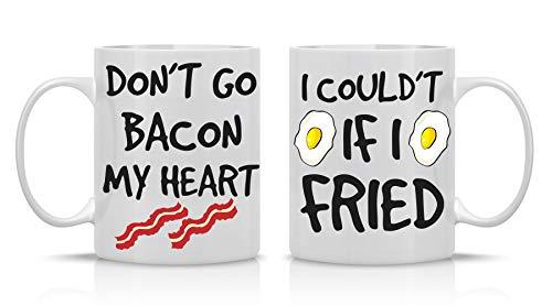 Don't Go Bacon My Heart, Could't If I Fried - Funny Couple Mug - (2) 11OZ Coffee Mug - Funny Mug Gift Set - Mugs For Husband and Wife His -