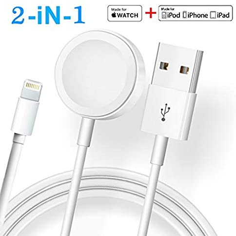 - 41Nx4wRxF1L - ATETION 2 in 1 Phone Charger Cable & Charging Station Compatible for Apple Watch Holder for Apple iWatch Series 4/3/2/1/iPhone X Xs MAX/8 Plus/8