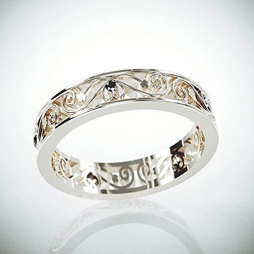 | 14k White Gold Filigree Women Wedding Ring set with Black Diamonds | 14k White Gold Woman Wedding Ring in Filigree Style |Filigree ()