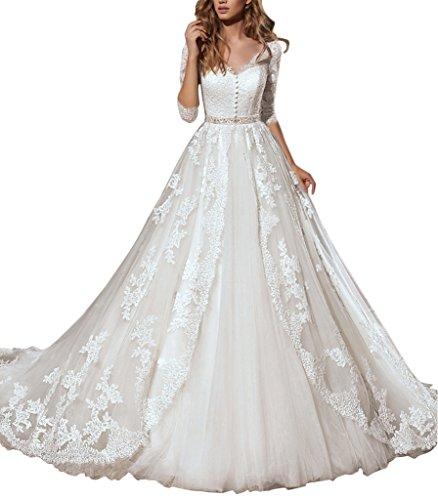 Kevins Bridal Romantic V Neck A Line Wedding Dress Vintage Appliques Chapel Train White Size 16 ()