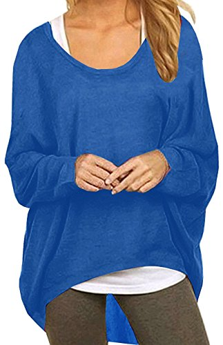 Lyxinpf Women Baggy Pullover Shirts Oversized Long Sleeve Batwing Blouse Knits Tops Blue 2XL (Sweater Boatneck Oversized)