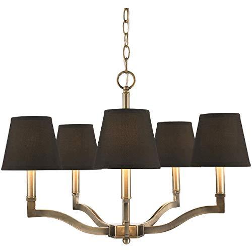 Golden Lighting Waverly 5 Light Chandelier in Aged Brass w/Tuxedo Shade