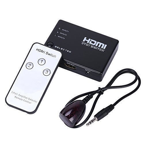 UPC 749110370886, MEALINK 3 Port HDMI Switch Full HD Automatic Switching 3 In 1 Out with IR Remote Control, 3x1 HDMI Switcher Hub, Support 3D 1080P, for Blue-Ray DVD/PVR/Media Box/PS4/PS3/Xbox