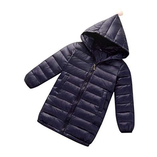 Children's Winter Warm Cotton Coat for Girls Boys Hooded Down Outwear Kids Coats (9T-10T, Navy) by Keepfit