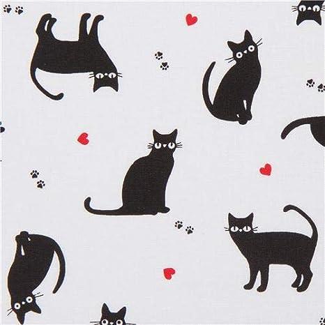 Tela de tesoros blancos atemporales con gatos negros (por unidad de 1,27 m): Amazon.es: Juguetes y juegos