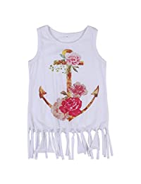 Baby Girls Tassels Sleeveless Anchor Pattern Dress Princess Party Floral Skirt