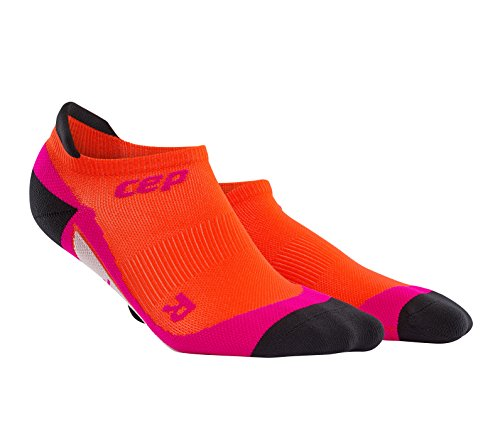 CEP Women's Dynamic+ No-Show Socks with Compression and Light, Breathable Fit for Cross-Training, Running, Recovery, Tiathletes, and all Endurance and Team Sports, Sunset/Pink, 2