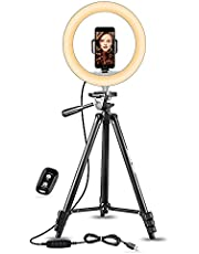 """UBeesize 10"""" Selfie Ring Light with 50"""" Extendable Tripod Stand & Phone Holder for Live Stream/Makeup/YouTube Video"""
