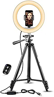 """UBeesize 10"""" Selfie Ring Light with 50"""" Extendable Tripod Stand & Phone Holder for Live Stream/M"""
