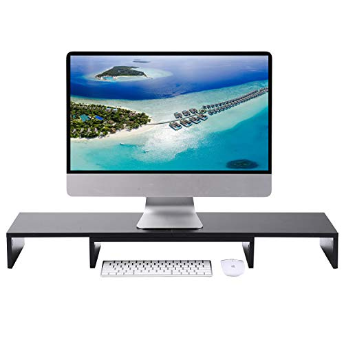 5Rcom Dual Monitor Stand 3 Shelf Desk Riser with Adjustable Length and Angle Multifunctional Screen Stand for Laptop Computer/TV/PC, Desk, Printer