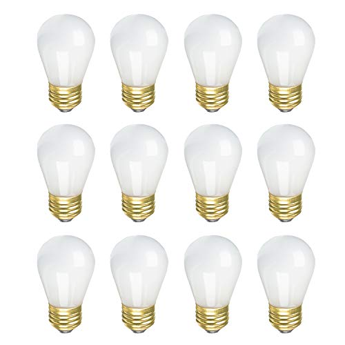 Standard 130 Volt S14 Base - Incandescent S14 Edison Light Bulb, String Light Replacement, E26 Medium Base, 130V, Frosted (12 Pack)
