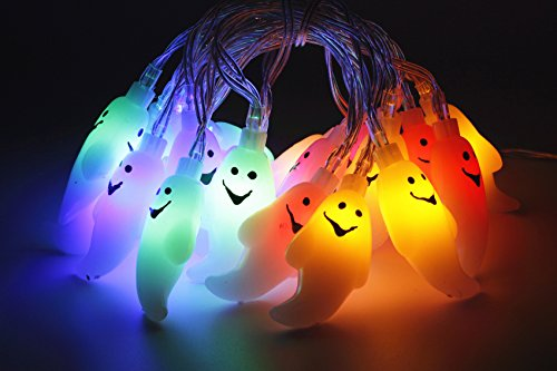 Ghost String Lights 20 LEDs 6.9 Foot Halloween Lights For Halloween Decoration  - Battery Operated