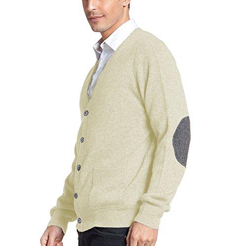 Parisbonbon Men's 100% Cashmere V-Neck Cardigan Color Ivory Size XL by Parisbonbon (Image #1)