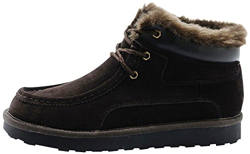 Rock Me Men's Thicker Wool Leather Flat Waterproof Ankle Snow Boots III (9.5 D(M) US, Brown)