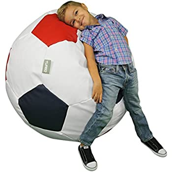 Turbo BeanBags Soccer Ball Multicolor Bean Bag Chair, Large, White,  Red/Green
