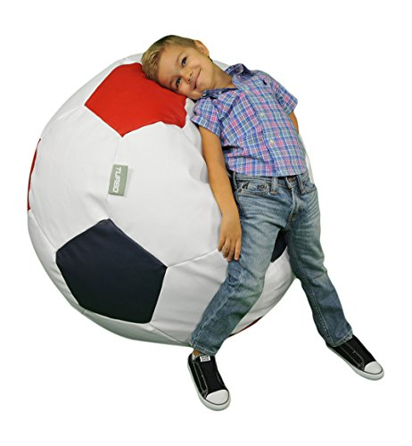Turbo BeanBags Soccer Ball Multicolor Bean Bag Chair, Large, White, Red/Green by Turbo BeanBags