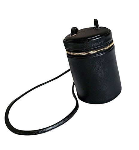 HFmorning Unique Cylinder PU Leather Purse Vintage Shoulder Bag Mini Pure Color Messenger Bag