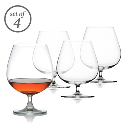 Set of 6 Vertical Curved Lines Orion Clear Footed Cognac and Whiskey Goblets