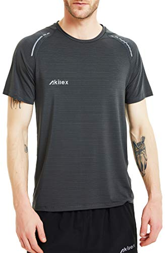 50f81b639 Akilex Men's Running Dry Fit T-Shirt Athletic Outdoor Short Sleeve  Comfortable Top (L