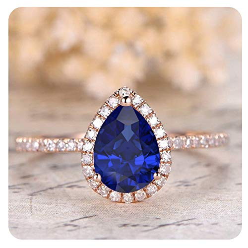 (1.50 Ctw Pear Shaped Created Blue Sapphire & White Diamond 14k Rose Gold Over .925 Sterling Silver Engagement Ring for Women's)