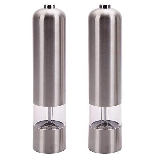Jskjlkl Stainless Steel Electric Pepper Mills Salt Grinder Adjustable Coarseness 2 Pcs