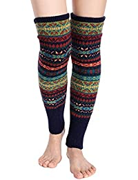 Women Knee High Socks Winter Bohemian Boot Cuffs Knit Crochet Leg Warmers