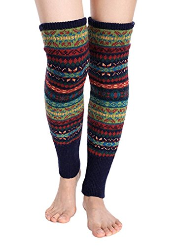 Leg Warmers Acrylic (Santwo Women Knee High Socks Winter Bohemian Boot Cuffs Knit Crochet Leg Warmers (navy))