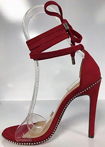 Chase & Chloe Gigi-46 Donna Stringate Stiletto Sandali Con Tacco Alto Borchie Trasparente Cinturino Rosso Rosso