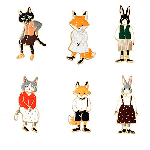 Enamel Pins Sets Cute Brooches Pin Cartoon Animal Brooches Pin Set with 3 Couples of Fox Cat Rabbit Badges for Clothing Bags Backpacks Jackets Hat DIY