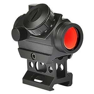 MidTen Micro Red Dot Gun Sight 1 x 25mm Reflex Sight, 3-4 MOA Rifle Scope with 1 inch Riser Mount, Black