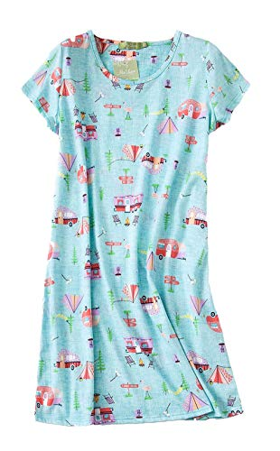 PNAEONG Women's Cotton Nightgown Sleepwear Short Sleeves Shirt Casual Print Sleepdress XTSY108-Camping-S