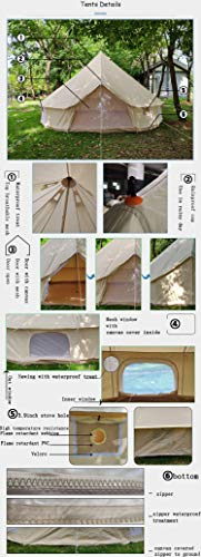 DANCHEL 5M Cotton Bell Tent with Two Stove Jacket (Top and wall)