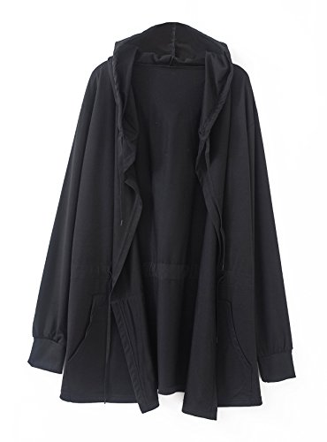 Urban GoCo Men's Casual Hooded Coat with Pockets (M, Black) (Mens Cape)