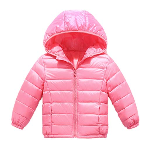 Jacket Hooded Puffer Girls (RUI-CHENG Toddler Warm Down Jackets Girls Puffer Winter Coat Lightweight Packable Hooded Zipper Outerwear Down Coat Pink 2-3 Years)