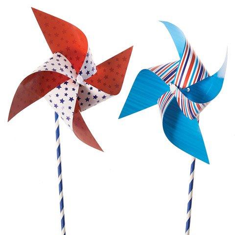 PENGUIN ART SUPPLIES July 4th Patriotic Pinwheels Kit - Independence Day Flag - Makes 18 Pin wheels Craft Kit