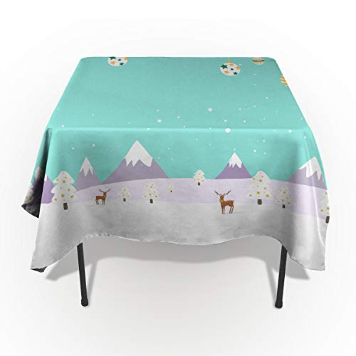 Spillproof Washable Fabric Tablecloth, Christmas Snowscape Trees Balloon Reindeers Snow Mountain Table Cover for Dinning Buffet Table Party Picnic Tabletop - Rectangle/Oblong 60 x 162