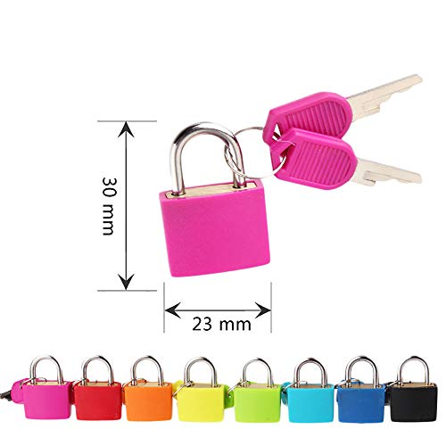 Mini Lock and Key Set Strong Steel Padlock Travel Suitcase Diary Lock with 2 Keys Perfect Padlock for Securing Your Suitcase Jewelry Boxes Gym Locker Tote Mini Fridge Cabinet and More (Pink) by paway (Image #1)