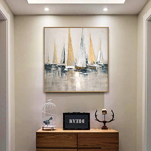LFDYH Jianmei Oil Painting Porch Entrance Decoration Painting Modern Light Luxury Gold foil Painting Sailing Restaurant Paintings Harbor 6060cm