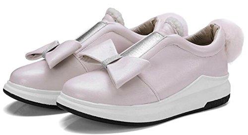 Idifu Damesmode Strikjes Lage Top Slip Ronde Neus Midden Sleehak Sneakers Schoenen Met Pom Poms Roze