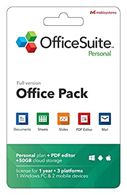 OfficeSuite Personal Compatible with Microsoft® Office Word Excel & PowerPoint® and Adobe PDF for PC Windows 10 8.1 8 7 - 1-year license, 1 user