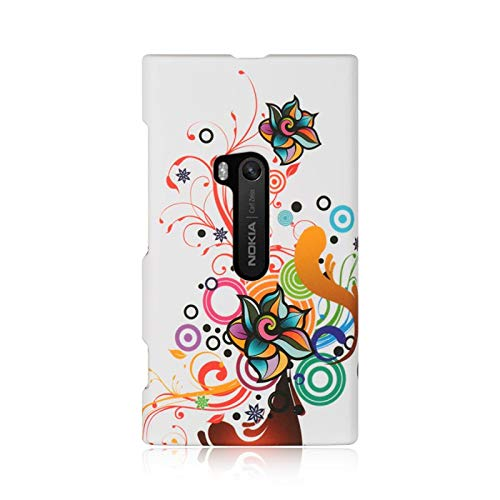 - Insten Autumn Flower Rubberized Hard Snap-in Case Cover Compatible with Nokia Lumia 920, White/Orange